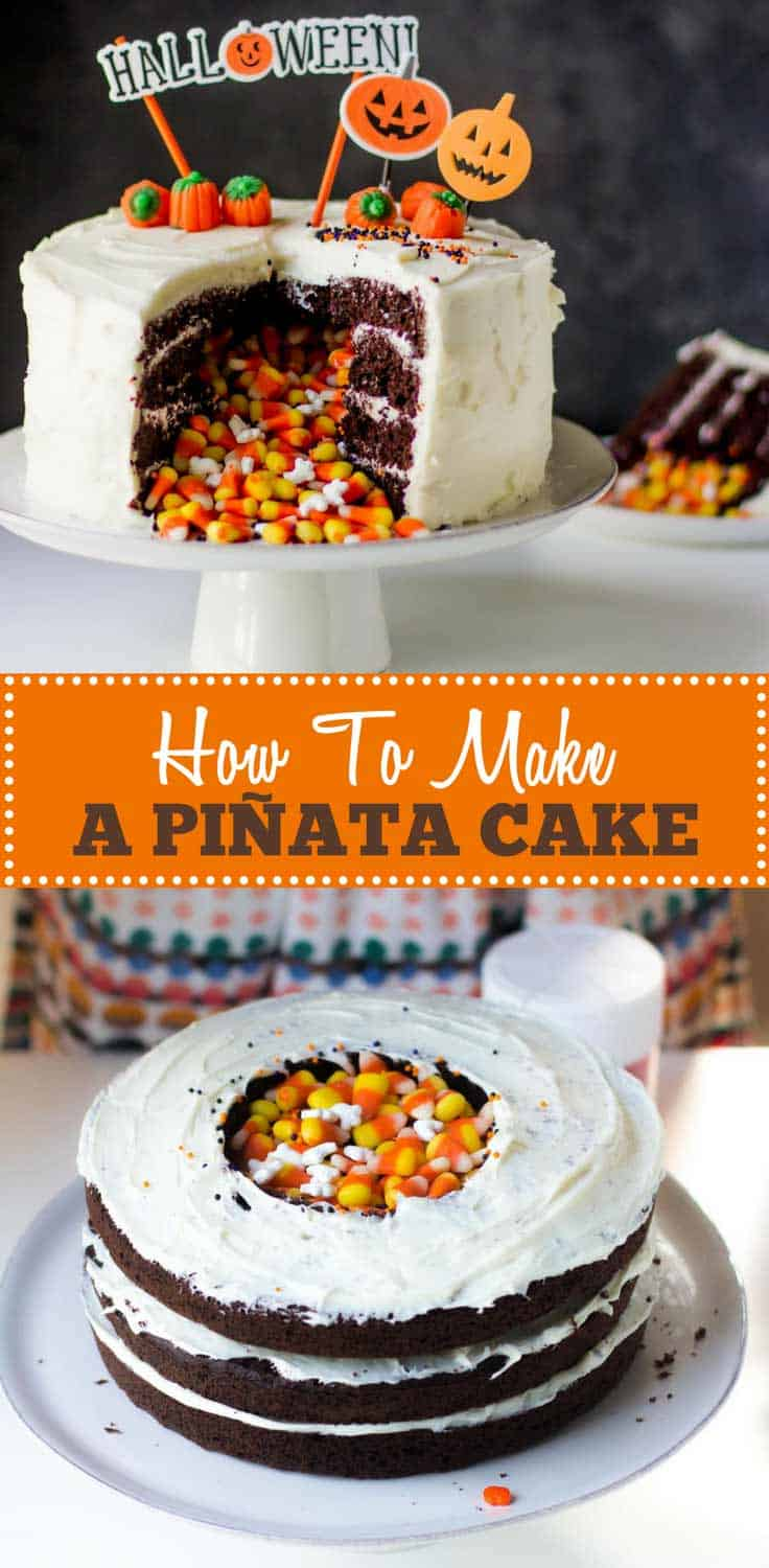 How to Make a Piñata Cake - A layer cake with a core of candy that comes tumbling out when sliced. Piñata cakes are fun to make and even more fun to bring to the table.