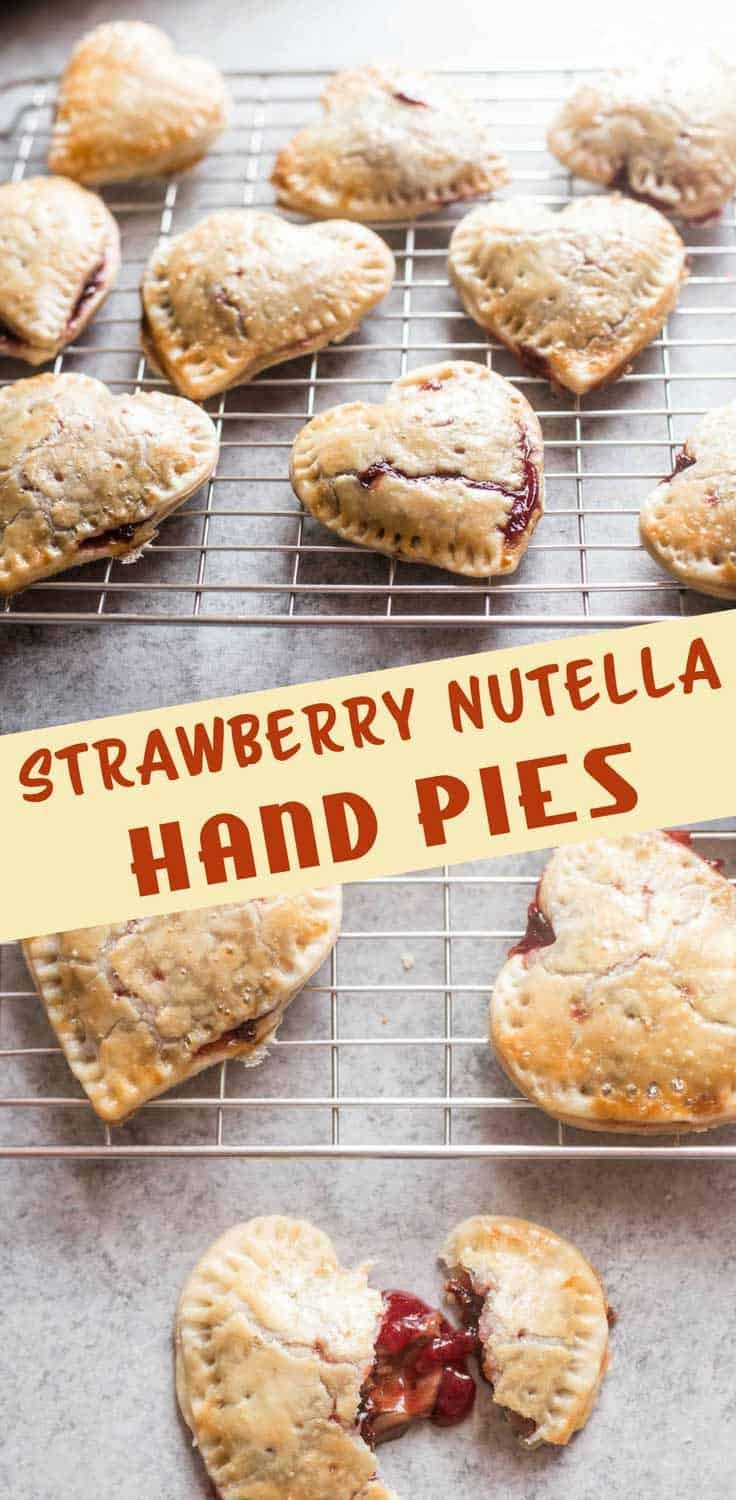 Strawberry Nutella Hand Pies - What could be more fun than mini, heart-shaped pies? Mini heart-shaped pies filled with creamy Nutella and strawberries. An easy, fun dessert.
