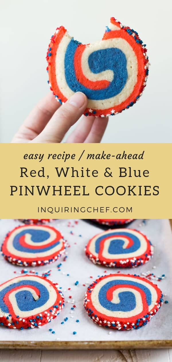 Red, White and Blue Pinwheel Cookies - Beautiful and easy pinwheel cookies. Buttery and soft, you can refrigerate or freeze these pinwheel cookies ahead of time. Just slice and bake when you're ready to serve! Easy recipe. Make-ahead recipe.