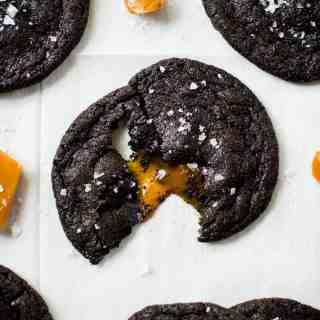 Salted Caramel Stuffed Chocolate Cookies