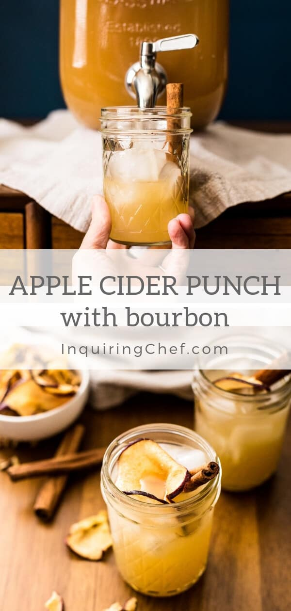 Apple Cider Punch with Bourbon - This festive apple cider punch with ginger beer, apple cider and bourbon can be made in batches to serve to a crowd or as a cocktail. Definitely a favorite in my household!