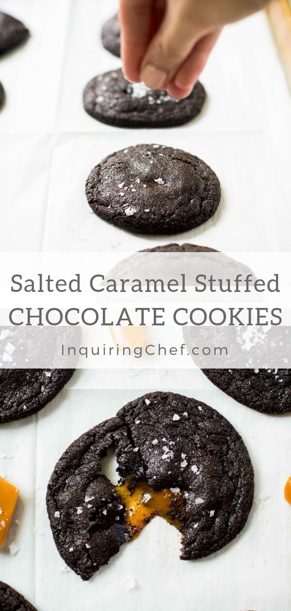 Salted Caramel Stuffed Chocolate Cookies - These rich dark chocolate cookies are filled with creamy caramel and topped with a sprinkle of salt. Put a plate out and they'll disappear fast (but only if you're willing to share)! Yummy dessert! Dessert recipe.