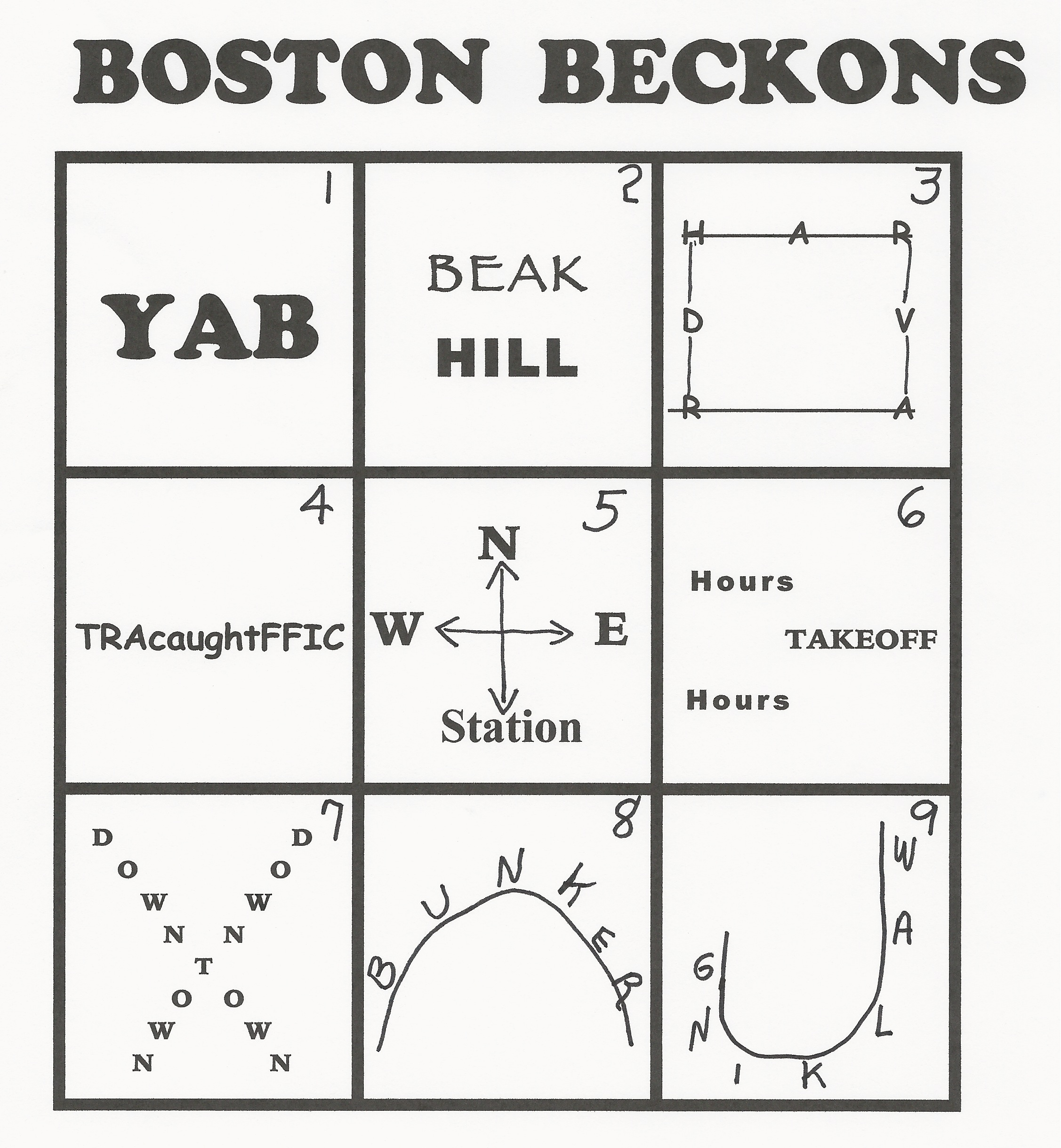 Boston Beckons A Wacky Word Puzzle From Inquiry Unlimited Practitioner Formerly Sited At Boston
