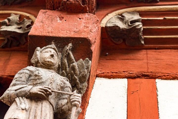 Détail d'une maison à colombages à Rennes