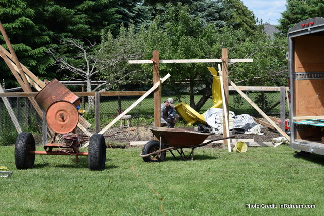 All work no play, Kawartha lakes Country yard, building a playcenter