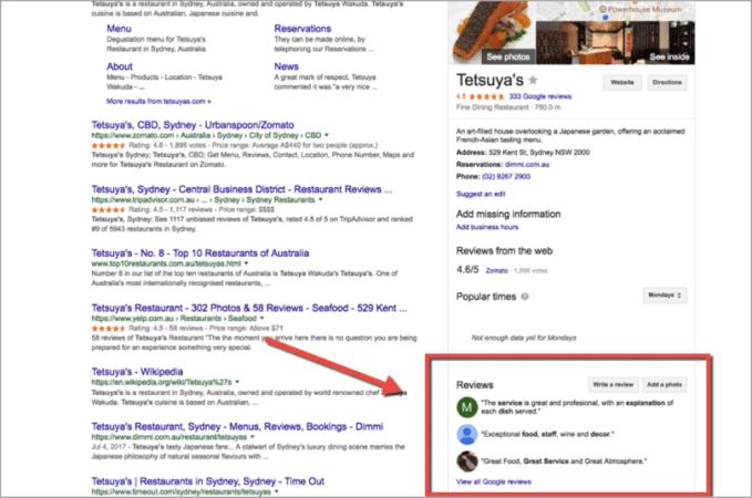 SEO lokal untuk restoran gambar 4. contoh daftar ulasan pada Google Knowledge Graph