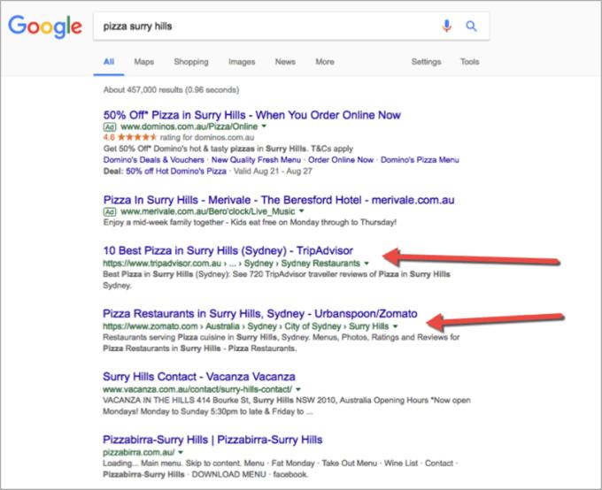 SEO lokal untuk restoran gambar 6. contoh hasil pencarian organik halaman 1 Google yaitu Yelp dan Zomato