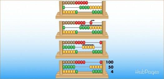 Belajar sempoa dasar Gambar 11. Ilustrasi berhitung dengan sempoa klasik tiga baris