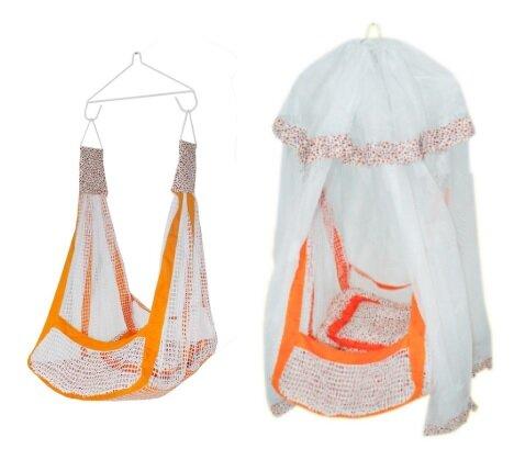 Ayunan bayi dengan kombinasi jala besar dan kelambu, termasuk hanger gantungan