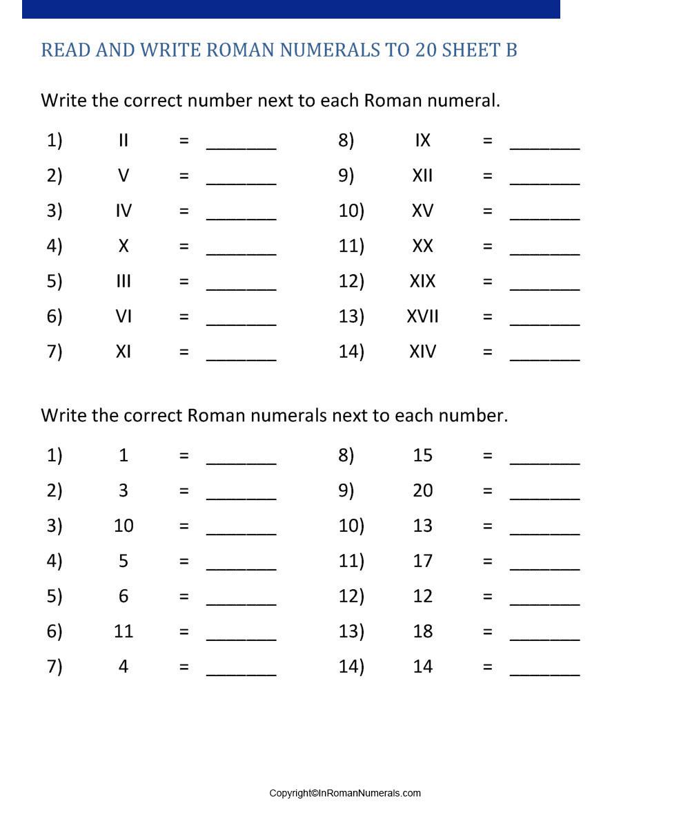 hight resolution of Roman numerals Worksheets Grade 2