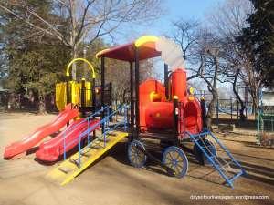 The play area and sakura at Miyoshino Shrine | KAWAGOE