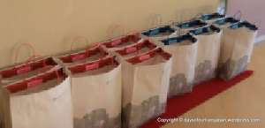 Bags of presents lined up for patients