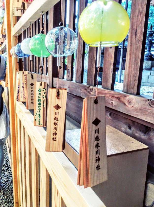 """The """"ema"""" (wooden plaques for writing prayers) of Hikawa shrine wind chimes"""