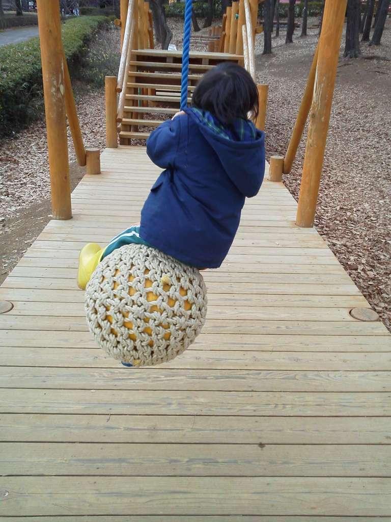 Unusual swing in the athletic playground at Saitama Children's Zoo Saitama children's animal nature park