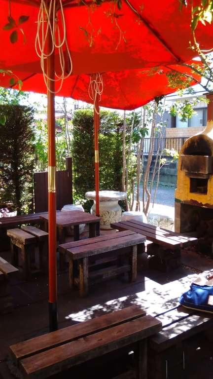 Raku Raku bakery umbrella in garden
