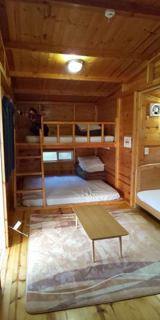 Inside a wood trailer at waterpark nagatoro minano chichibu saitama with kids camping with kids