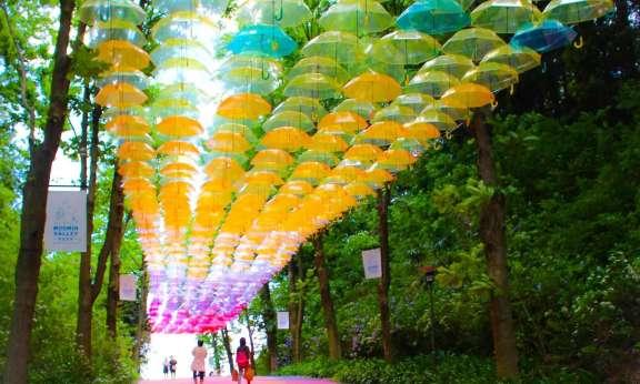 Metsa Village umbrella sky Japan's largest umbrella art installation