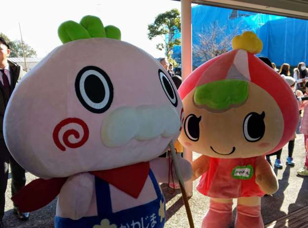 Kawamin and Kawabe, the mascots of Kawajima Town