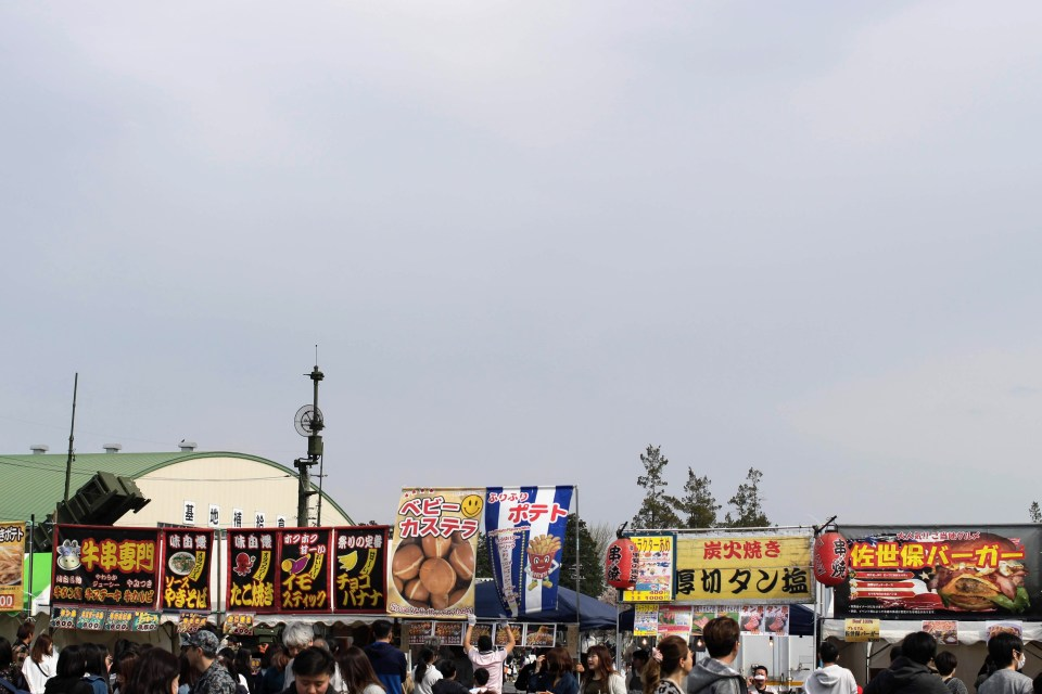 Festival stalls at Kumagaya Air base sakura festival