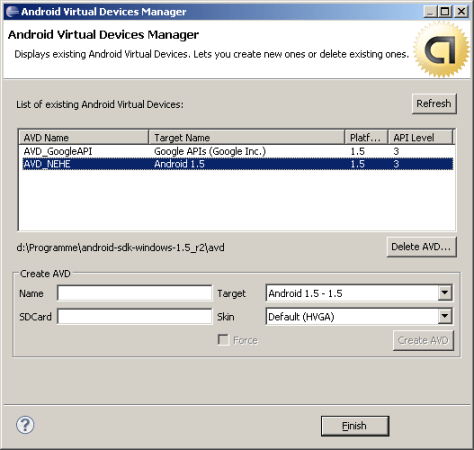 Eclipse AVD Manager