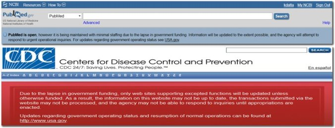 shutdown messages PubMed CDC