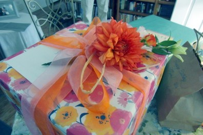 My daughter loves the wrapping as much as the gift. Fresh flowers.