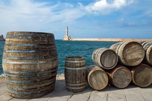 Barrels in the port of Chania