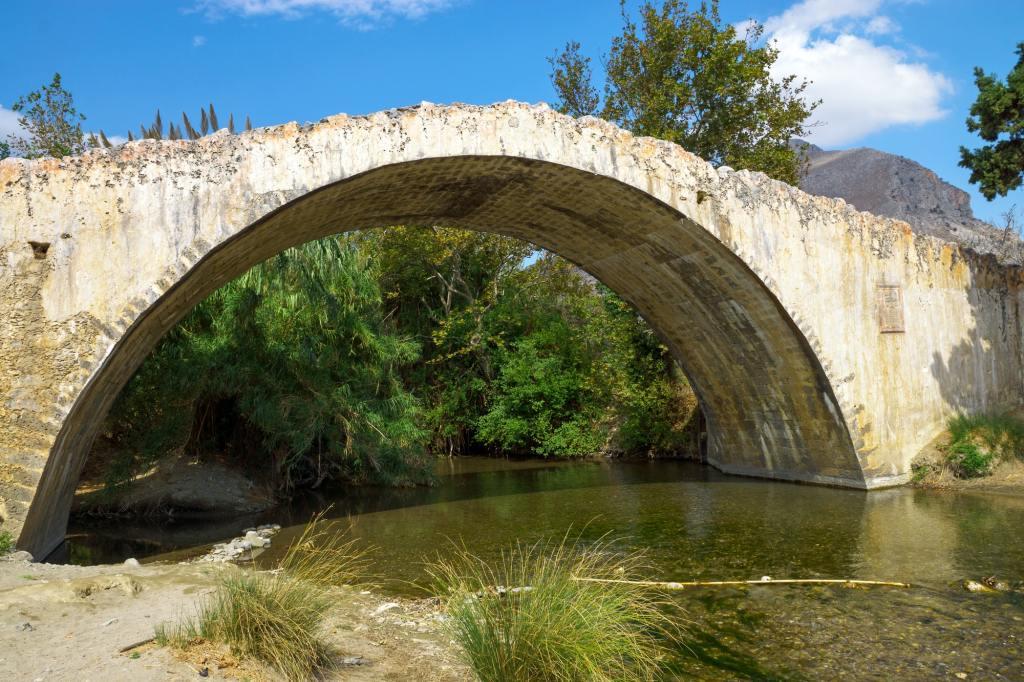 Historic stone bridge on Crete island