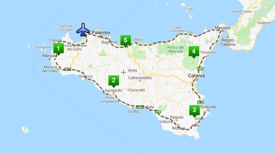 tour sicilia mappa itinerario