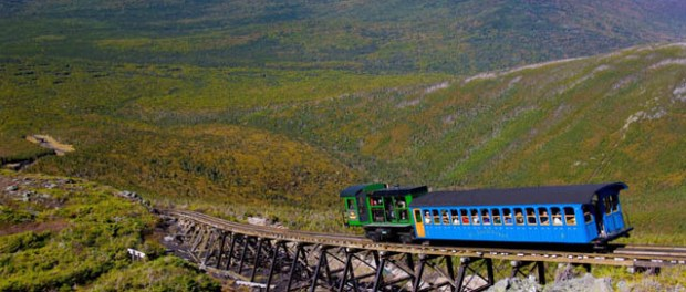Die Zahnradbahn Mount Washington Cog Railway in den White Mountains von New Hampshire - Foto: Cog Railway