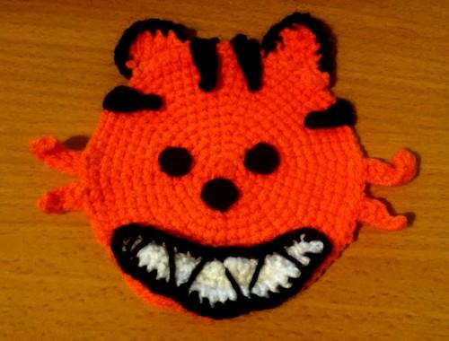 Crochet coaster sous-verre halloween char citrouille