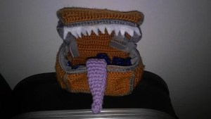 crochet monster mimic dice bag dungeons and dragons