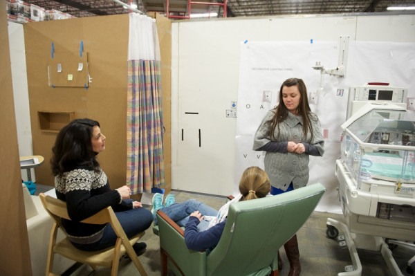 Mary Beth Frye, Megan Pollock and nurse Sofiya Lizhnyak participate in NICU simulation