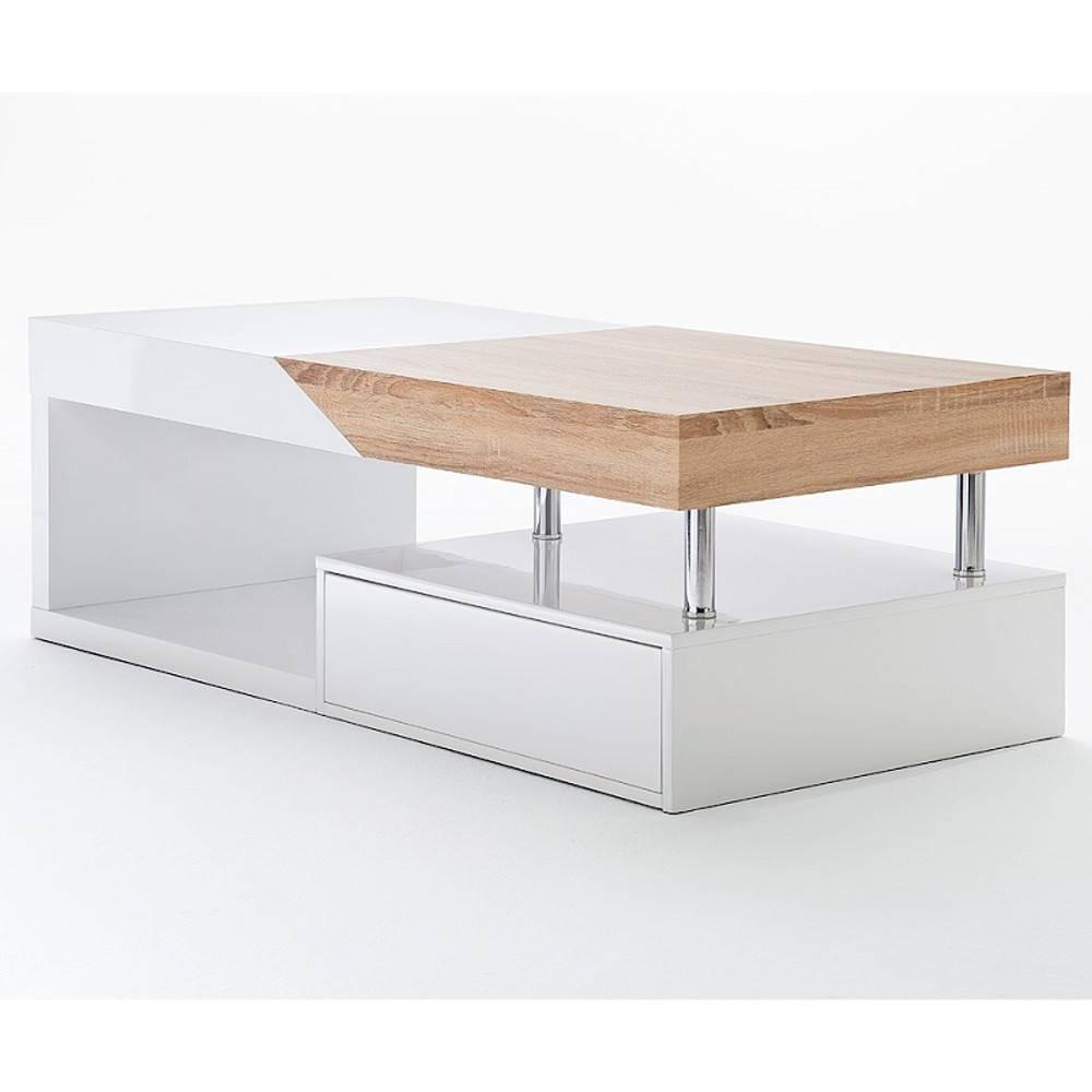 Table Basse Design Howard Blanche Brillant Et Chêne Plateau Coulissant d115a2ea8965