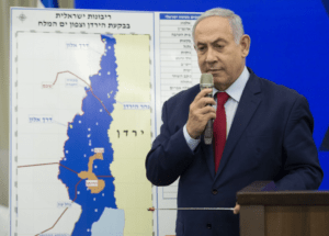 Netanyahu on Tuesday pledging to annex Palestinian territory