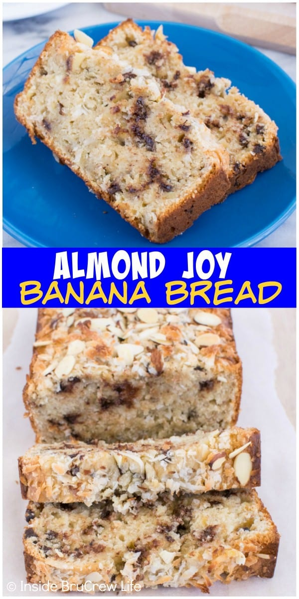 almond joy banana bread adding plenty of coconut chocolate and