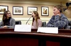 High school students in mock senate at California State capitol, Sacramento