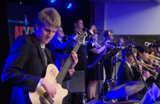 Folsom High School students playing in jazz competition