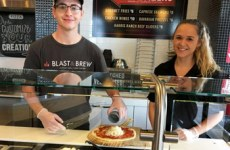 student with disability working at blast and brew
