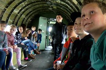 students at aerospace museum of california