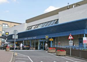 The main entrance to Mayday Hospital - phase one of a scheme that was never completed