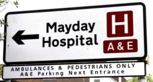mayday-hospital-sign