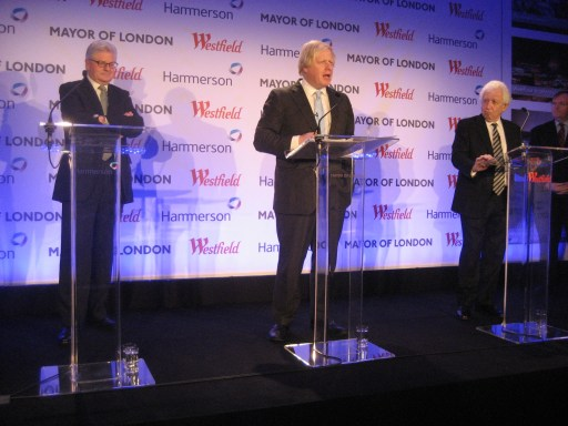 "I hereby declare you developer and developer... Boris Johnson casts himself as the high priest of Croydon's ""wedding"" between Hammerson's Nelson, left, and Lowy, of Westfield, right"