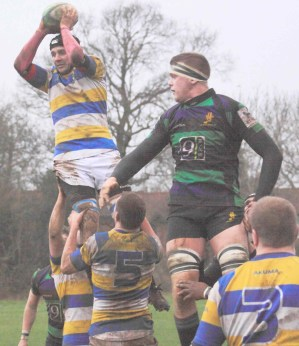 Purley-John Fisher lock forward Mike Tuke secures line out ball  to launch another attack