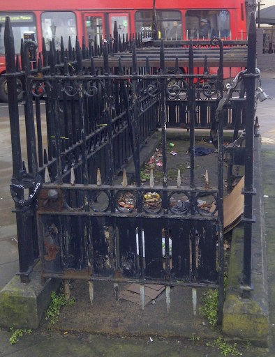 The Gothic-style metal railings around the old public lavatories at Norwood, neglected by Croydon Council but which Casa Cuba wants to take responsibility for