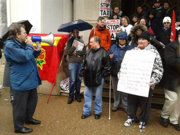 Inside Croydon's contributing editor Andrew Pelling was one of the speakers at today's rally against the Bedroom Tax  at the Town Hall
