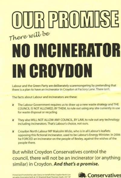 Croydon Tories' incinerator pledge from 2010: a promise broken soon after