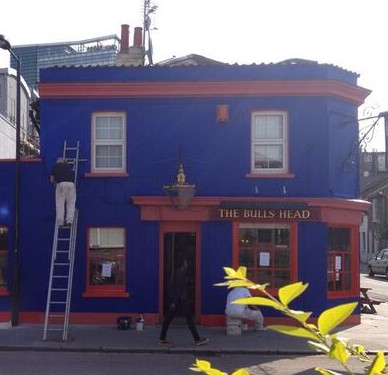 Blue is the colour: the Bull's Head's new paint job. But which team's colours?