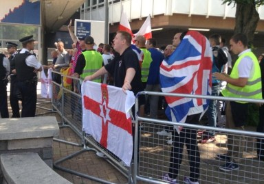 The small EVF contigent, reduced to making Nazi salutes, when they gathered at Lunar House on Saturday, outnumbered 5 to 1 by anti-racists campaigners