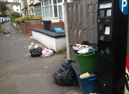 The street scene on a road in Waddon ward in South Croydon this morning. Not a bin collection day, this is a commonplace as people opt to dump their rubbish on someone else's doorstep
